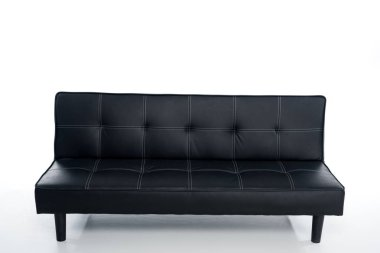 cozy empty black couch on white