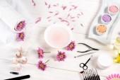 lázeň pro nehty u stolu s květy, okvětní lístky, ručníky, laky na nehty, pilník, kůžičky, pohled na nehty nůžky, nůžky, mořská sůl, smetana kontejner, aroma olej láhve a vzorky nehty nehtů laky u stolu