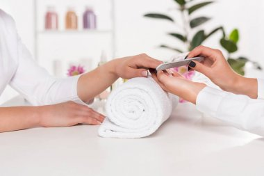partial view of woman receiving manicure by beautician with nail file at table with flowers and towels in beauty salon