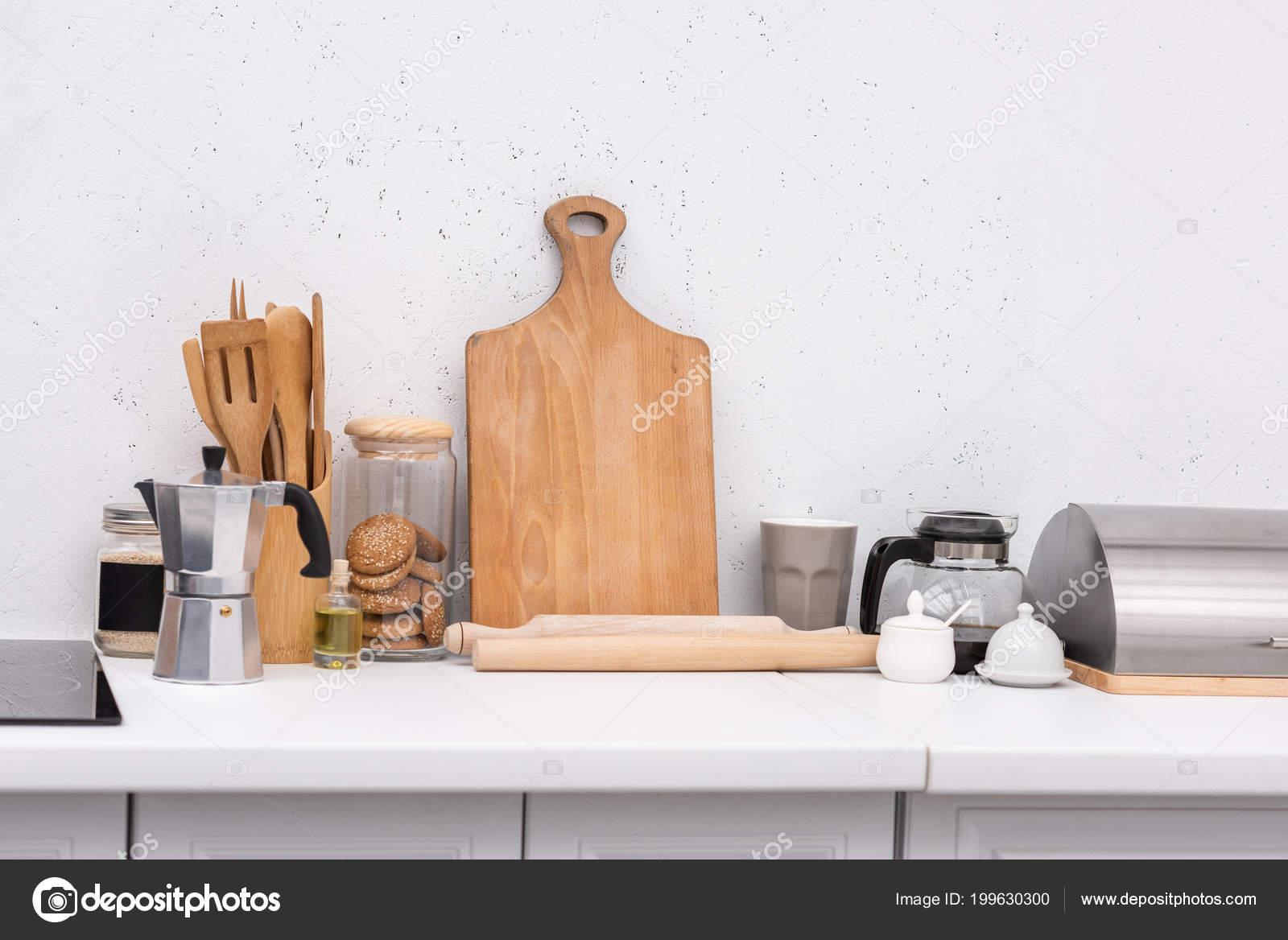 Varios Utensilios Cocina Madera Mesa Cocina — Fotos de Stock ...
