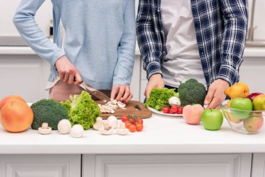 cropped shot of couple cooking healthy vegetarian dinner together