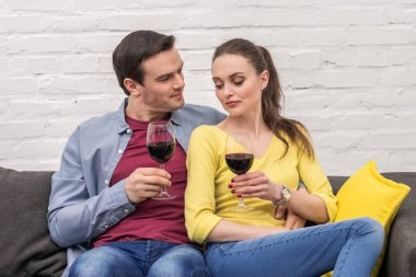 Beautiful adult couple with glasses of red wine spending time together at home stock vector