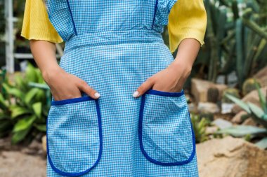 cropped shot of woman in apron standing with hands in pockets in greenhouse