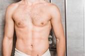 Fotografia Ritagliate la vista del corpo maschile nudo in doccia