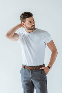 Handsome bearded man in white t-shirt isolated on white background stock vector
