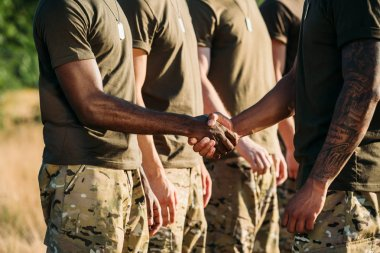 partial view of african american soldier and tactical instructor in military uniform shaking hands on range