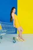 Fotografie Fashion portrait of woman in yellow clothes leaning on shopping cart isolated on blue and yellow background