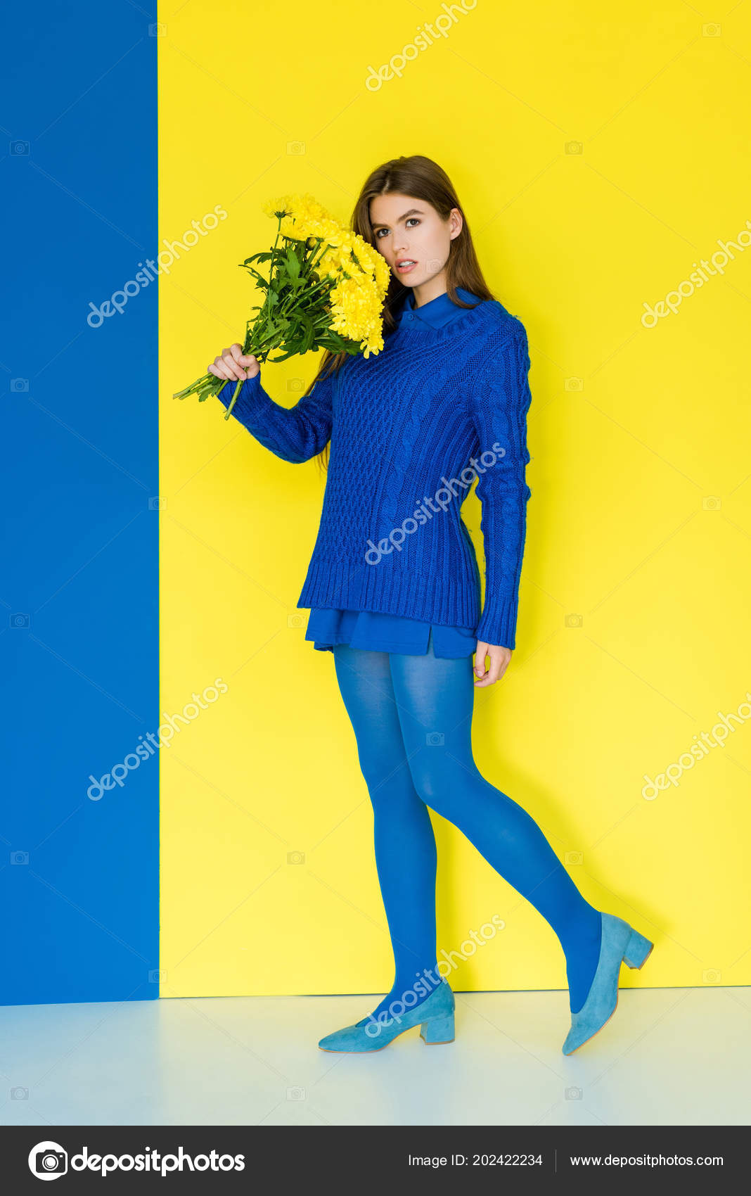 Attractive Young Girl Blue Outfit Holding Yellow Flowers Blue Yellow — Stock  Photo 0ddf5e2ad