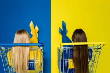 Rear view of elegant stylish women sitting in shopping carts isolated on blue and yellow background