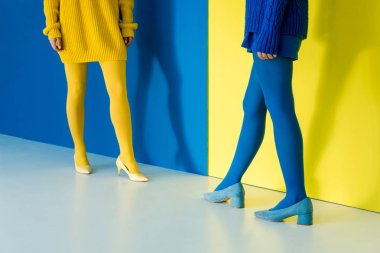 Cropped view of girls in contrasting outfits posing on blue and yellow background