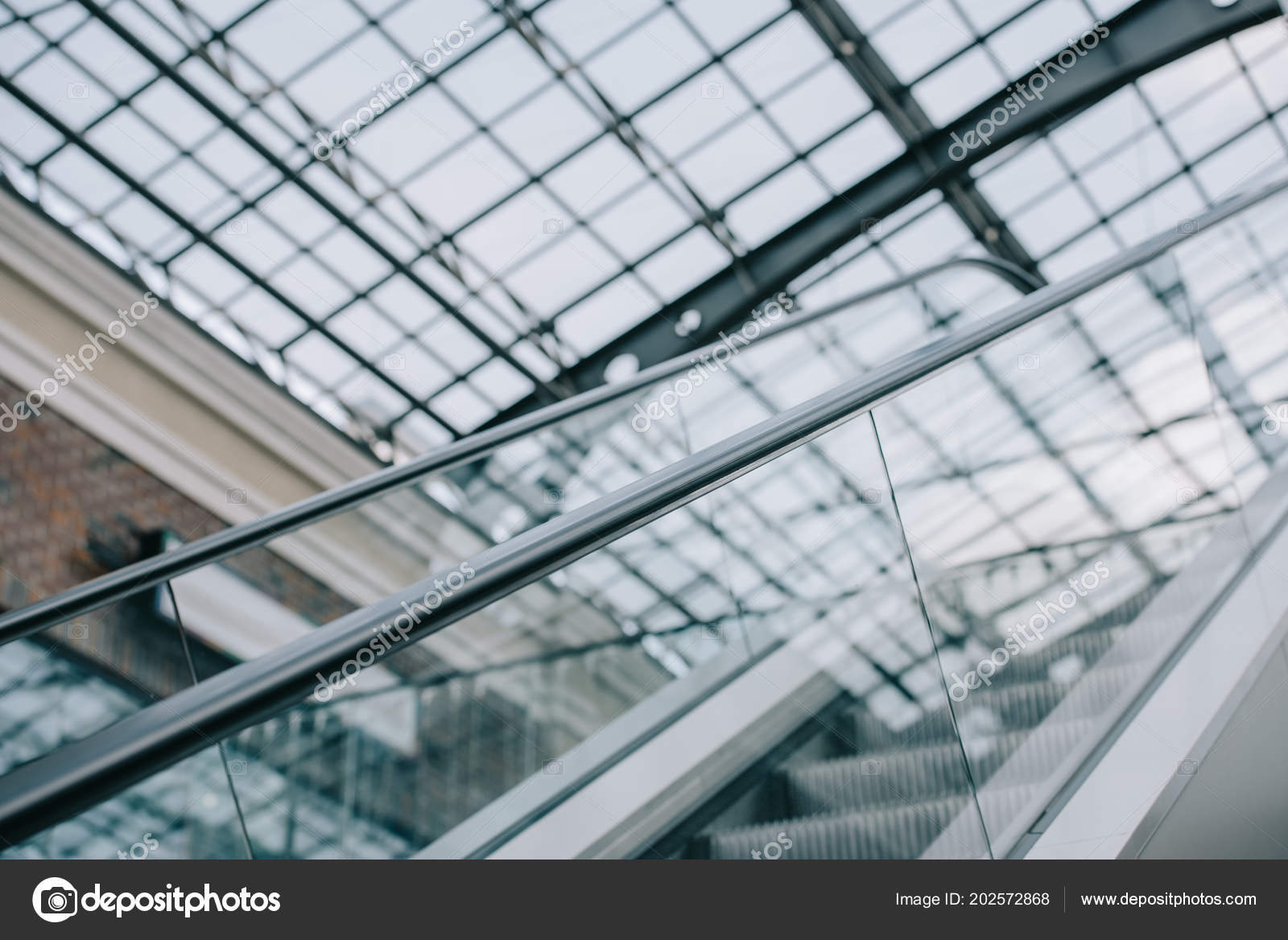 Awesome Grey Moving Staircase Stairs Glass Roof Shopping Mall U2014 Stock Photo