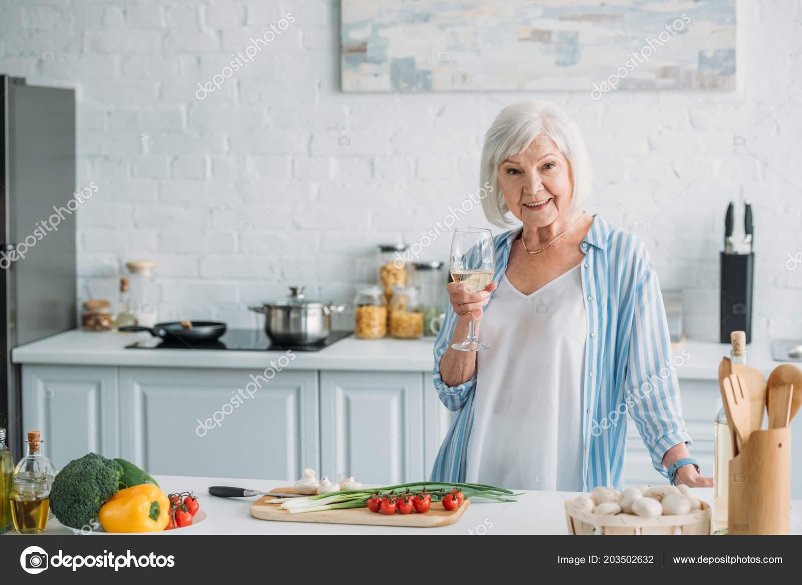 Portrait Smiling Senior Lady Glass Wine Standing Counter Fresh ...