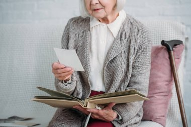 cropped shot of senior lady with photo album sitting on couch at home