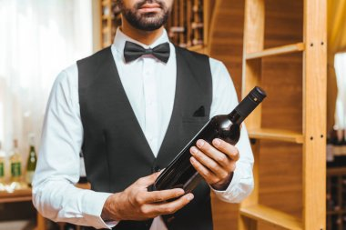 cropped shot of young wine steward with bottle of luxury wine at wine store