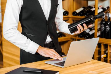 cropped shot of wine steward holding bottle and working with laptop at wine store