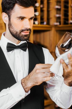 handsome young wine steward wiping glass at wine store