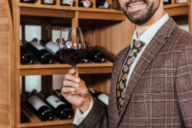 cropped shot of smiling man in tweed jacket with glass of wine at wine store