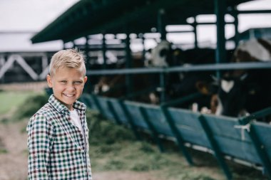 happy boy in checkered shirt smiling at camera while standing at ranch with cows