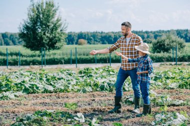 father and son planting seeds together at farm