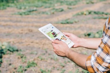 cropped shot of farmer using digital tablet with ebay website while standing on field