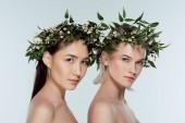 mnohonárodnostní krásky v zelené květinové věnce, izolované Grey