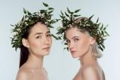 nackte multiethnische Mädchen in Blumenkränzen, isoliert auf grau