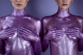 Fotografie cropped view of nude girls in ultra violet glitter covering breasts, isolated on purple