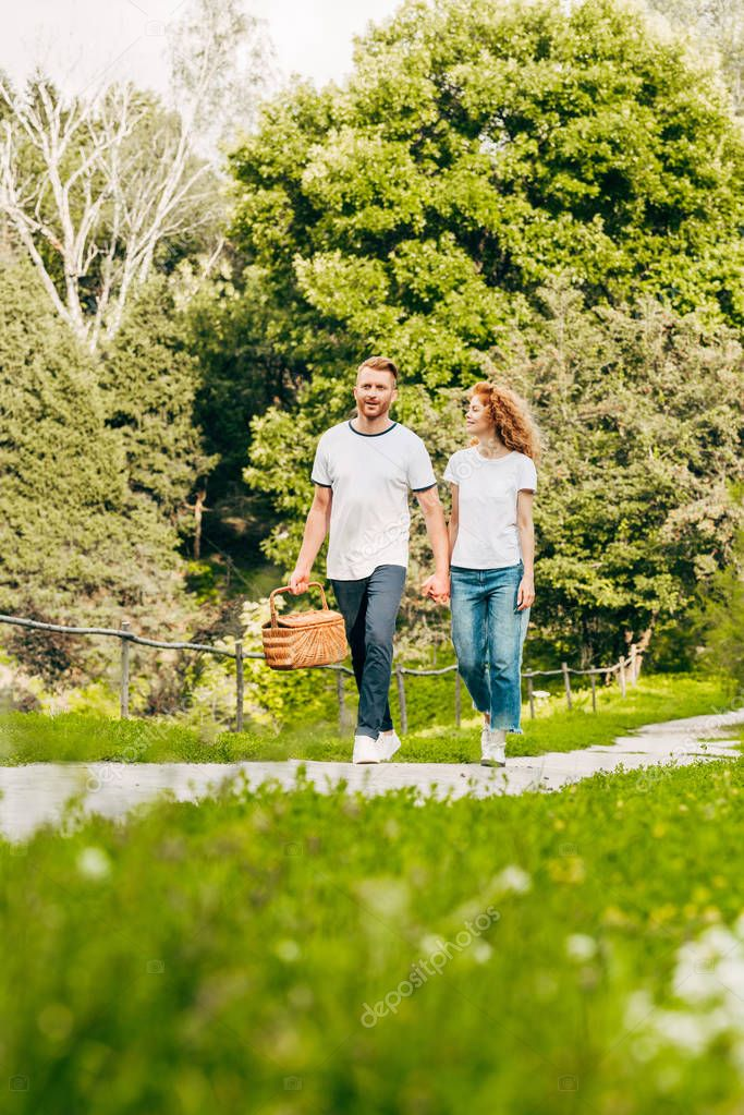 happy young couple with picnic basket walking in beautiful park