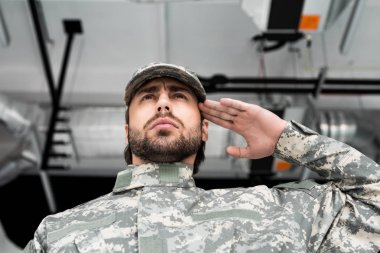 low angle view of confident soldier in military uniform saluting with blurred backdrop