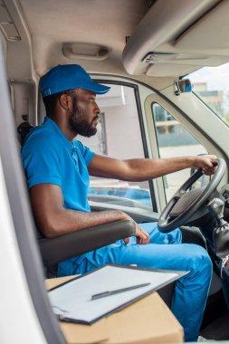 African american delivery man driving van stock vector