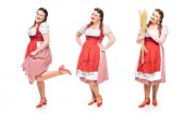 smiling oktoberfest waitress in traditional bavarian dress in three different positions isolated on white background