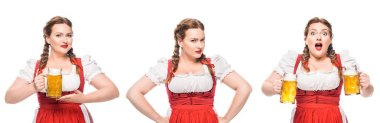 Oktoberfest waitress in traditional bavarian dress with light beer in three different positions isolated on white background stock vector