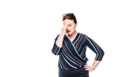 exhausted businesswoman having headache isolated on white background
