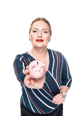 happy female accountant giving pink piggy bank isolated on white background