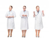 female doctor with pills and stethoscope in three various positions isolated on white background