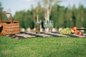 Fotografie picnic with glasses, bottle of white wine, fruits and wicker basket on blanket on grass