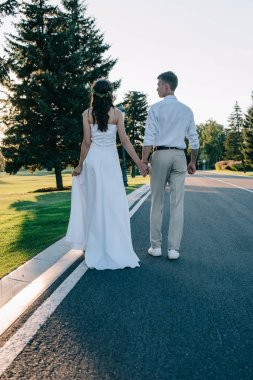 back view of young wedding couple holding hands and walking on walkway in park