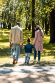 back view of african american parents and daughter walking in park on weekend