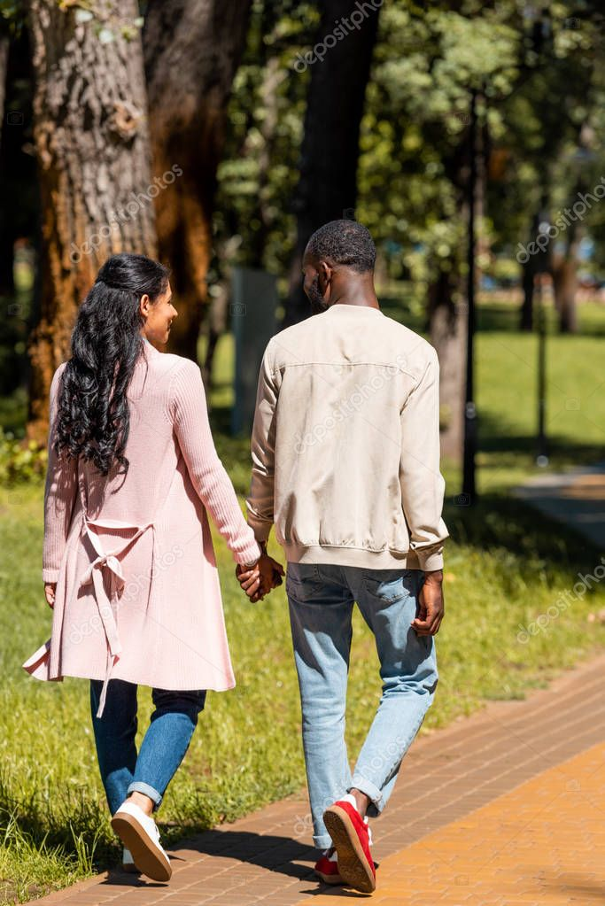 back view of african american couple holding hands and walking in park