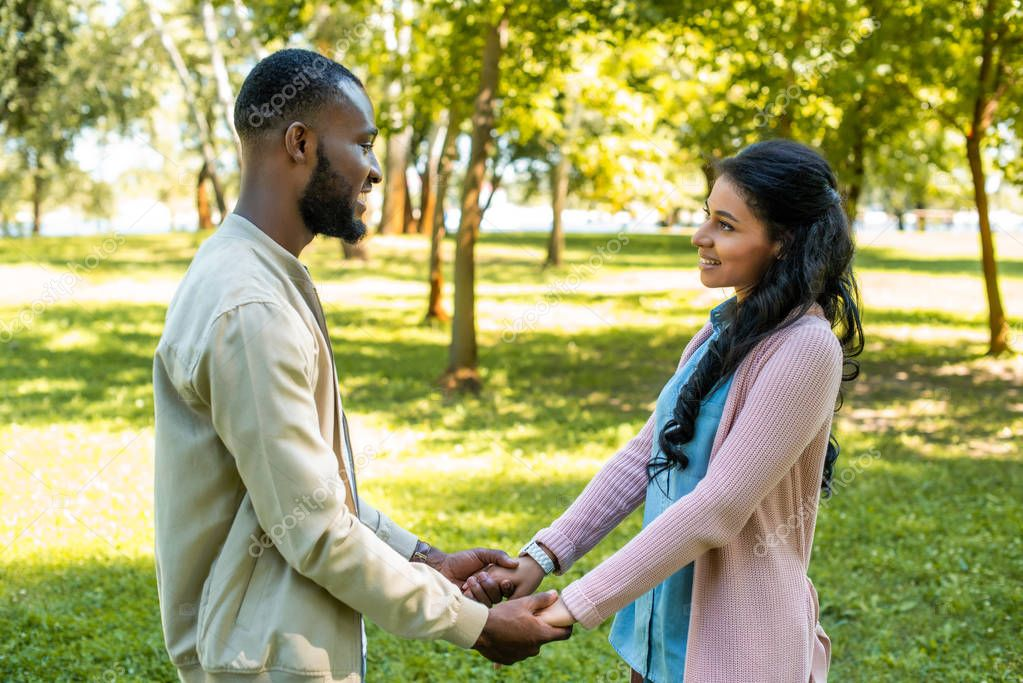 smiling african american couple holding hands and looking at each other in park