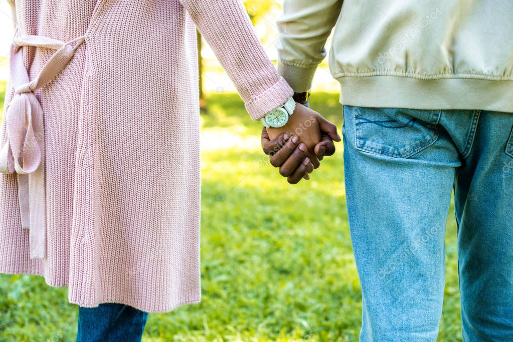 cropped image of african american couple holding hands in park