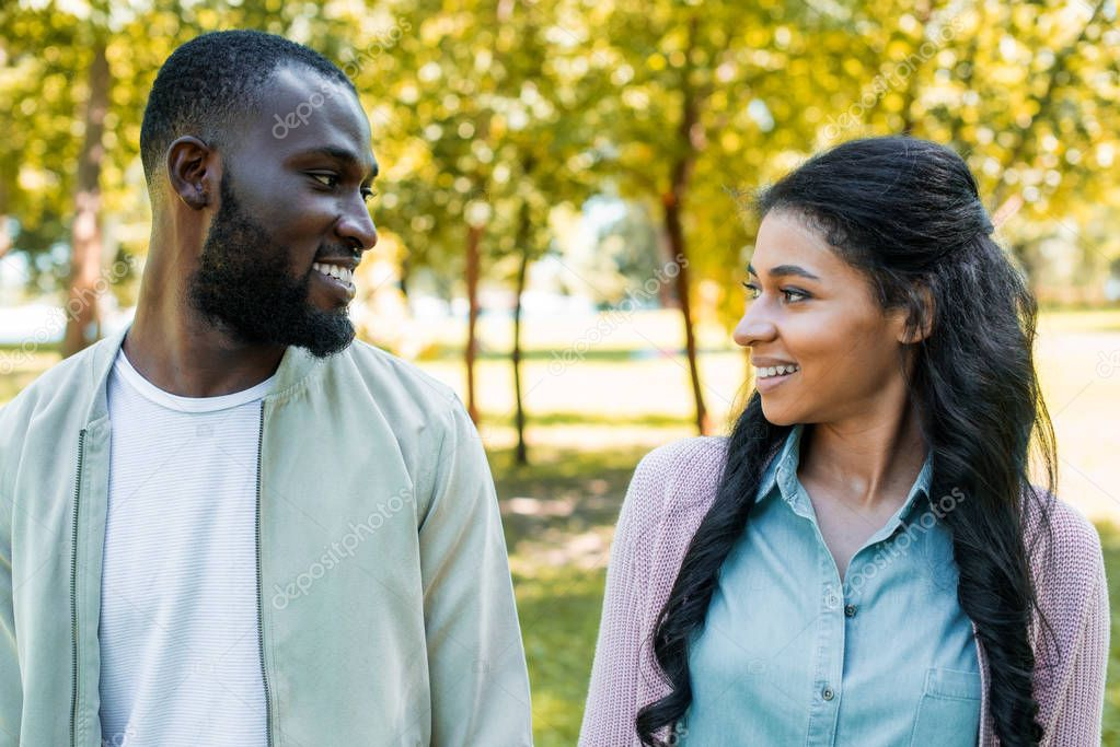 smiling african american couple looking at each other in park