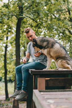 young cynologist with siberian husky dog sitting in park