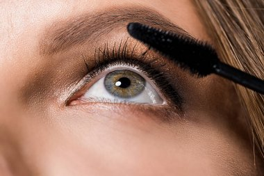 partial view of attractive woman and mascara brush