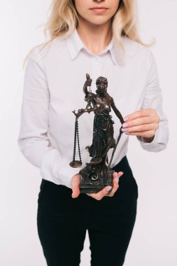 cropped image of lawyer holding lady justice statue isolated on white