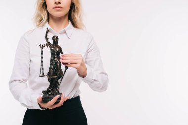 cropped image of lawyer holding themis statue isolated on white