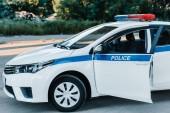 Fotografie automobil s exhibicionista a nápisy policie na městské ulici