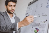 Fotografie handsome businessman drawing chart on flipchart in office