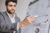 pohledný podnikatel kreslení grafu na flipchart v úřadu