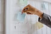 Fotografia immagine potata di uomo daffari prendendo autoadesivo di carta dalla scheda attività in ufficio